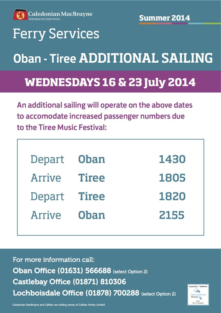 Oban-Tiree additional sailings 16 and 23 July jpeg