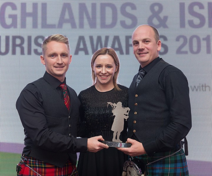 2015 Highlands and Islands Tourism Awards, Drumossie Hotel, Inverness.  Winners - Best Cultural Event or Festival - Tiree Music Festival (left to right) Daniel Gillespie, Kirstin Anderson (Chivas Brothers) and Stewart MacLennan.  Picture: Callum Mackay. Image No. 031183